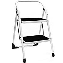 Delxo Step Ladder Folding Step Stool Ladder 2 Step with Handgrip Anti-slip Sturdy and Wide Pedal Steel 330lbs White and Black(WK2062A)