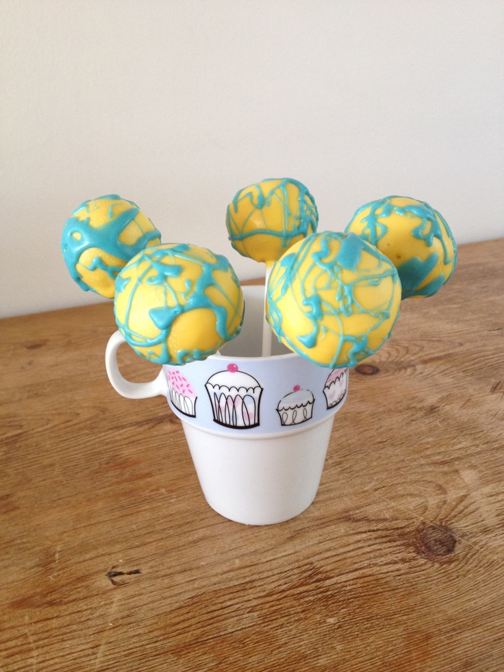 Cake pops: Yellow with messy blue By For Pops Cake (by Nicole) www.facebook.com/forpopscake