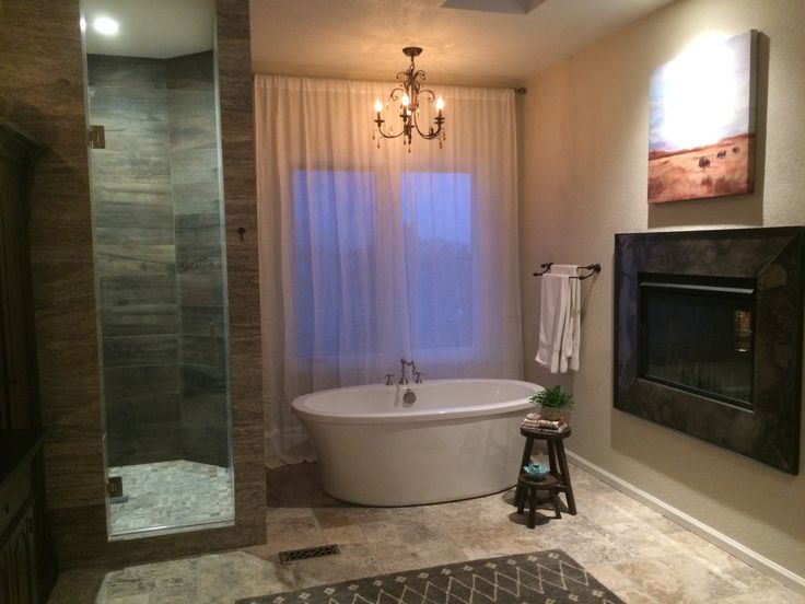 Arcturus Studio Master Bathroom Remodel Steelfireplacesurround Silvertravertine Freestandingbathtub