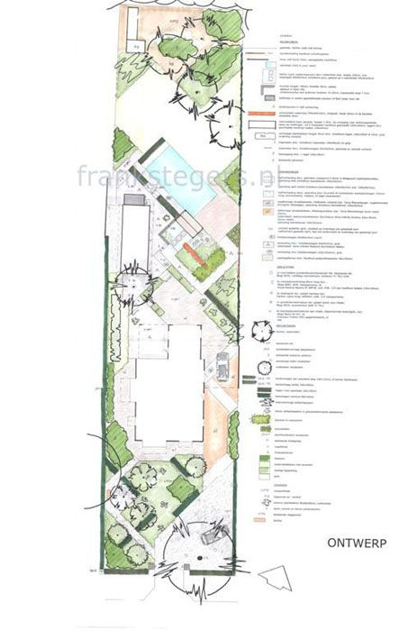 Angled lines enlarge feel of long narrow garden plans