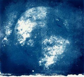 MicroPoiesia cyanotype print by J JA Hastings.
