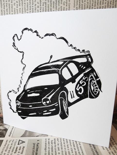 Rally Car Linocut Print by English Girl at Home, via Flickr