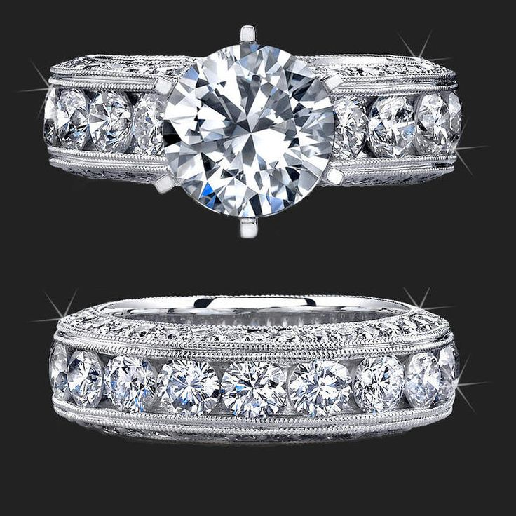 Jewelers Above And Beyond with More Than 4 Carats of Huge Top Quality Round Diamonds – bbr389set   Unique Engagement Rings, Flower Rings, Vintage & Antique Engagement Rings