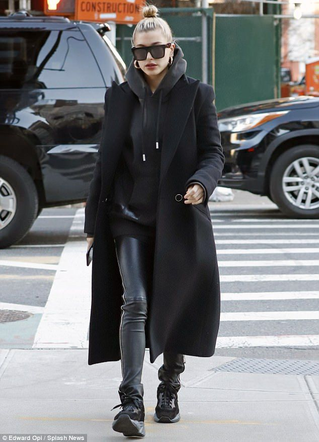 Hailey Baldwin steps out in all black to visit Bella Hadid