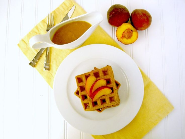 Cinnamon Vanilla Waffles with Fresh Peach Sauce from Attune Foods.