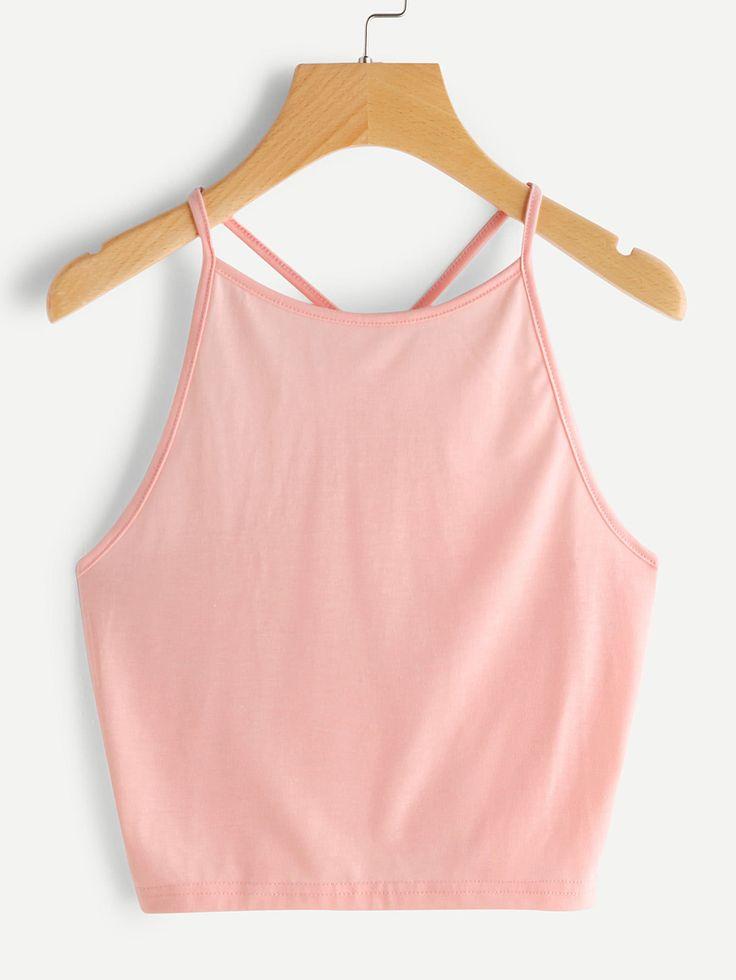 ¡Cómpralo ya!. Crop Halter Top. Pink Spandex Casual Plain Halter Top Fabric has some stretch Summer Tank Tops & Camis. , topcorto, croptops, croptop, croptops, croptop, topcrop, topscrops, cropped, topbailarina, corto, camisolacorta, crop, croppedt-shirt, kurzestop, topcorto, topcourt, topcorto, cortos. Top corto  de mujer   de SheIn.