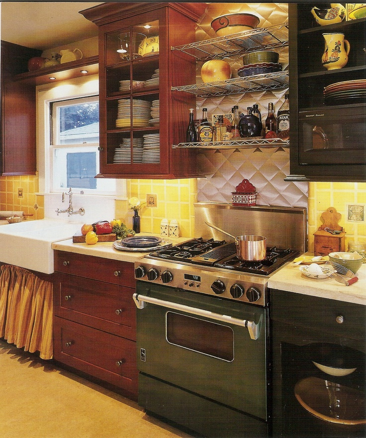 Stainless Kitchen Cabinet: Creative Design! Cherry Wood Tone Cabinets On Left, Walnut