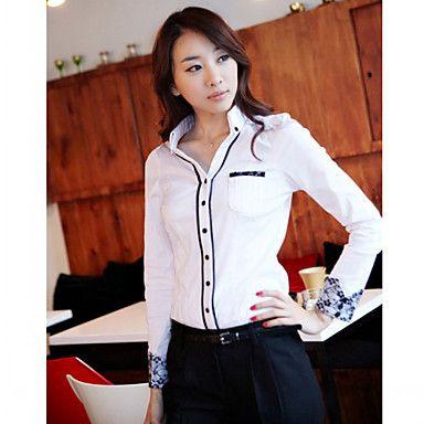 Blanco 2013 del modelo nuevo 100% algodón de manga larga de Corea del Trabajo Camisa de tela de CHAO LIU Mujeres – EUR € 13.19