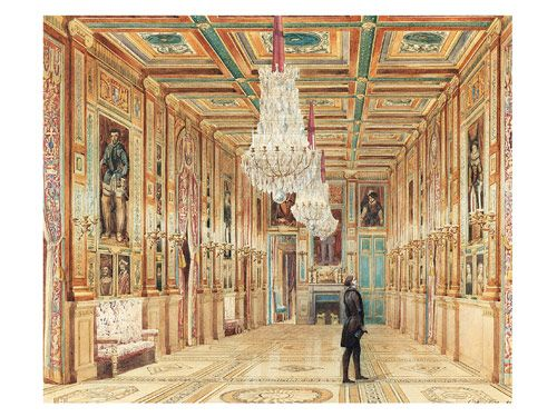 A VIEW OF THE PICTURE GALLERY AT THE CHÂTEAU D'EU Alexandre-Dominique Denuelle, 1844 Watercolor, white gouache, graphite on white wove paper