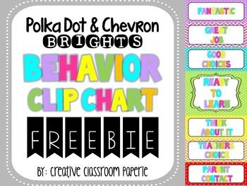 FREEBIE Polka dot and Chevron behavior clip chart in fun bright colors to manage behavior in your classroom.