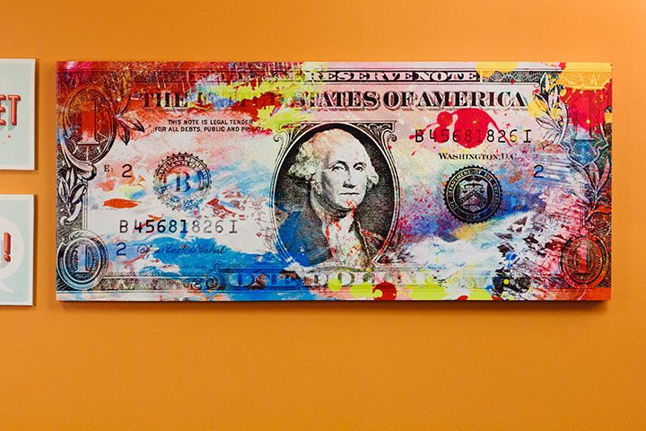 Pop Art Dollar Bill Canvas Art, 55