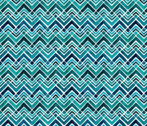 Stacked chevrons connected with diamond squares in blue watercolors