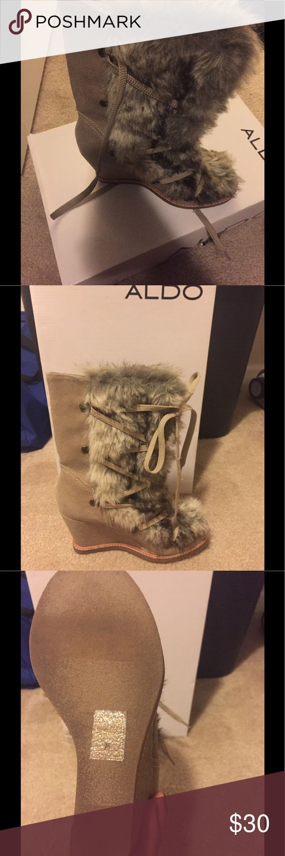 Faux Fur Ankle Boots Suede tie up ankle boots with faux fur. Size 7.5...Gently used!!! Aldo Shoes Ankle Boots & Booties