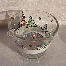 Svietidlá a sviečky - svietnik Zimná krajinka 9 - 7559933_