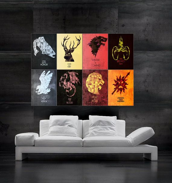 Game of Thrones symbols of houses flags  Poster art huge giant wall print 8 parts HH10785 S33 on Etsy, $29.95
