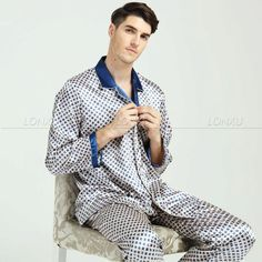 Mens Silk Pajamas Pyjamas PJS Set Sleepwear  Loungewear  S M L XL 2XL 3XL p&p #LONXU #PajamaSets