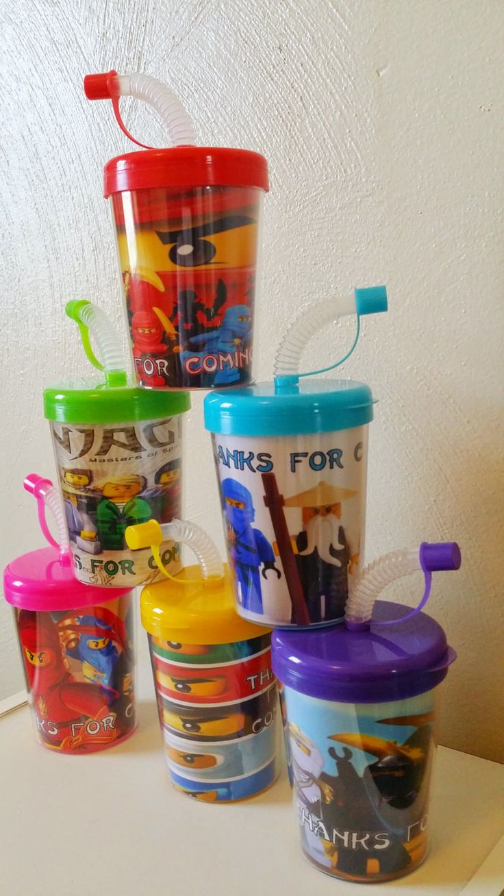 Package Includes: • 6 Ninjago Personalized Party Favor Sippy Cups • Inserts are printed on High Quality Photo Paper and laminated for protection. • Inserts are hand cut and have to be removed from cup