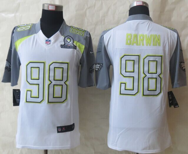 Men's NFL Philadelphia Eagles #98 Barwin Pro Bowl White Jersey