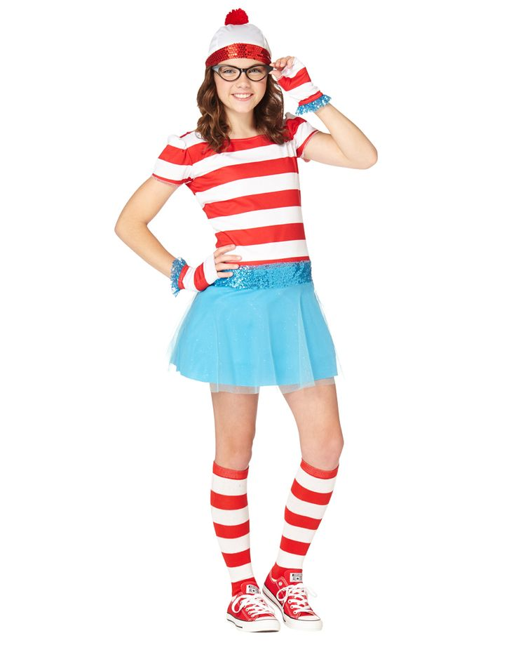 Where's Wenda Tween Costume exclusively at Spirit Halloween - Everyone can search high and low this Halloween, but we doubt they'll find anyone as cute as you when you wear the Officially Licensed Where's Wenda Tween Costume. Features Wenda's classic striped dress, hat, knee high socks and glovelettes. Make it yours for $39.99