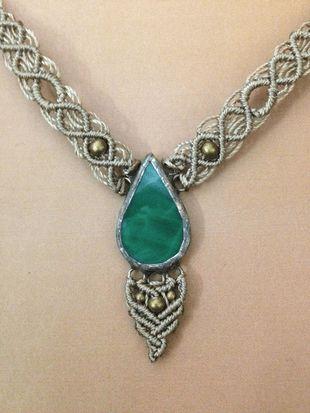 Light brown-green macrame glass necklace, small drop