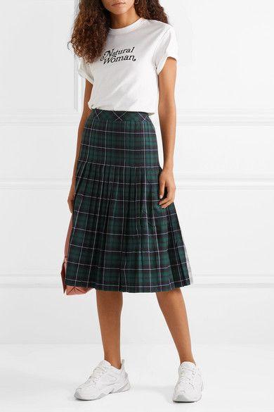 161215e88e Sandy Liang | Checked pleated cotton-canvas midi skirt | NET-A-PORTER.COM