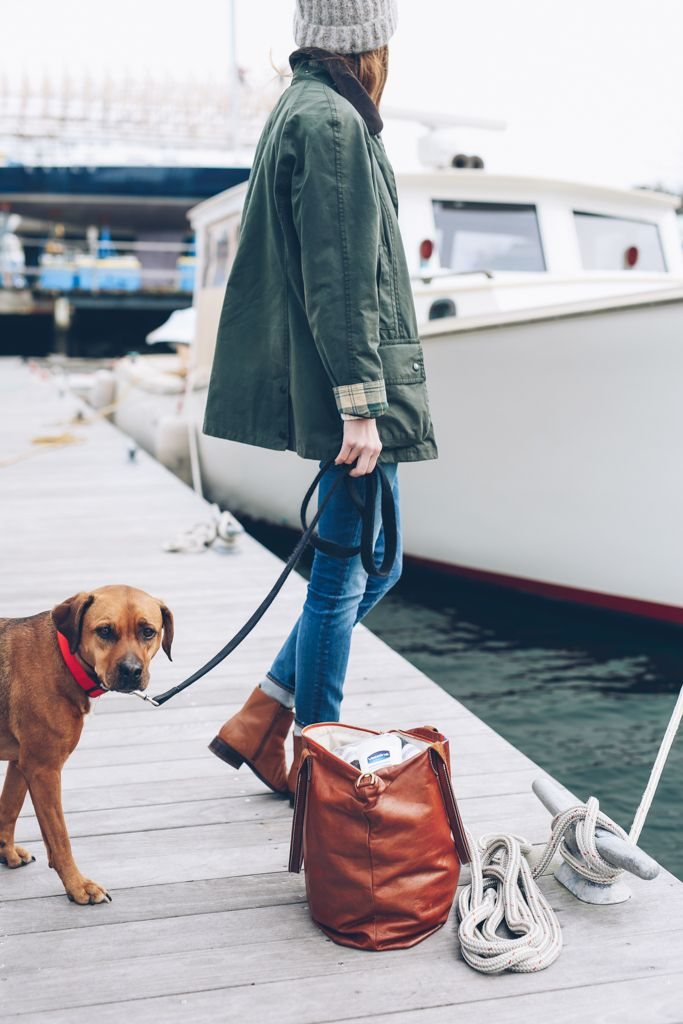 On the Docks: Barbour Jacket & Ankle Boots
