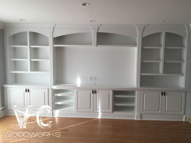Custom entertainment center made professionally by VC Woodworks. Get a custom built in for your home today!