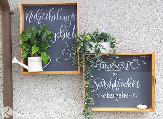 Gartentafel Schubladen Garten Unkraut Handlettering Foux Kalligraphie Tafel