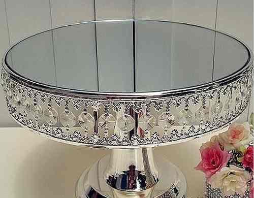 suporte de bolo 30cm prataria cristal espelho pronta entrega                                                                                                                                                                                 Mais