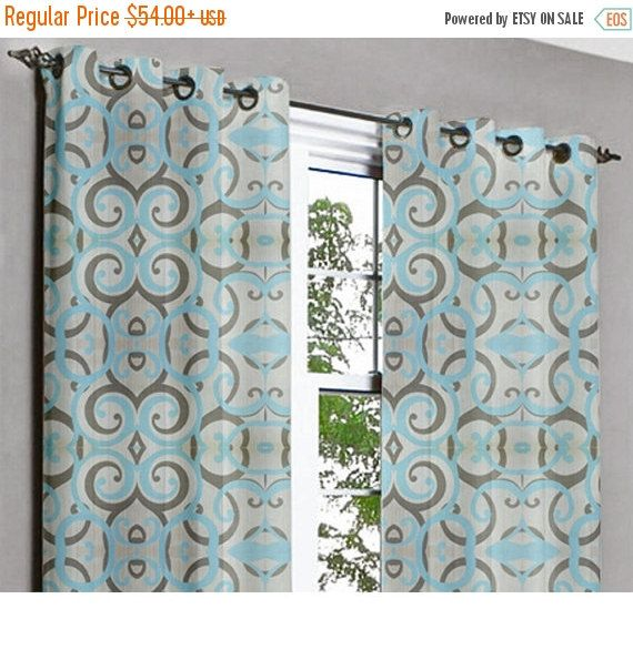 10% THANKSGIVING SALE Aqua Scrolls Grommet Unlined Curtain in Textured Jacquard Weave Fabric Decor and Housewares Window Treatment Drapes Pa