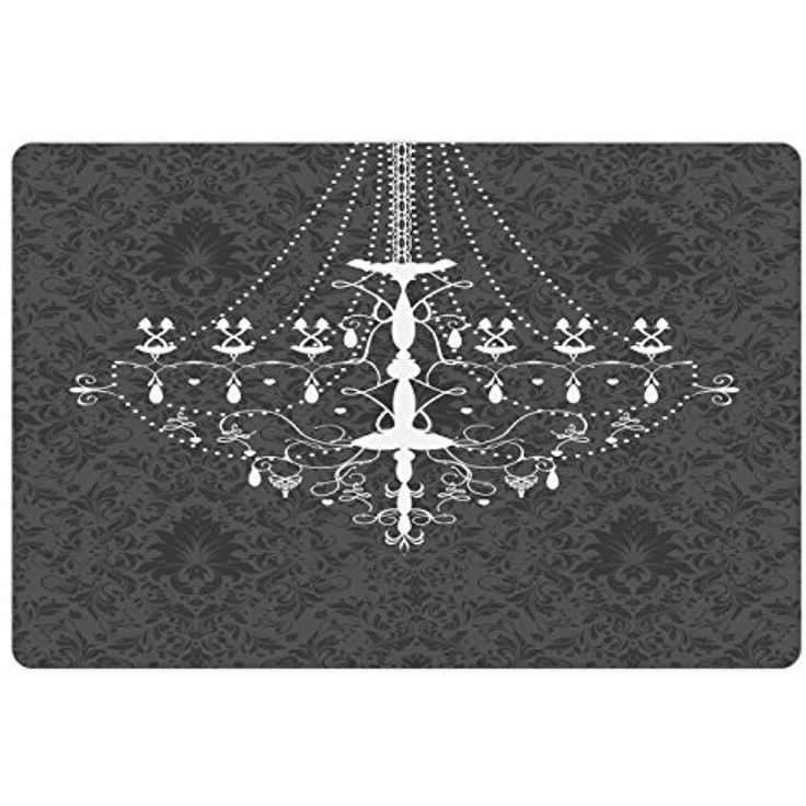 Vintage Pet Mats for Food and Water by Lunarable, Victorian Baroque Stylized Nostalgic Chandelier on Damask Background Rococo Design, Rectangle Non-Slip Rubber Mat for Dogs and Cats, Grey White -- Check out the image by visiting the link. (This is an affiliate link) #DogFeedingWateringSupplies