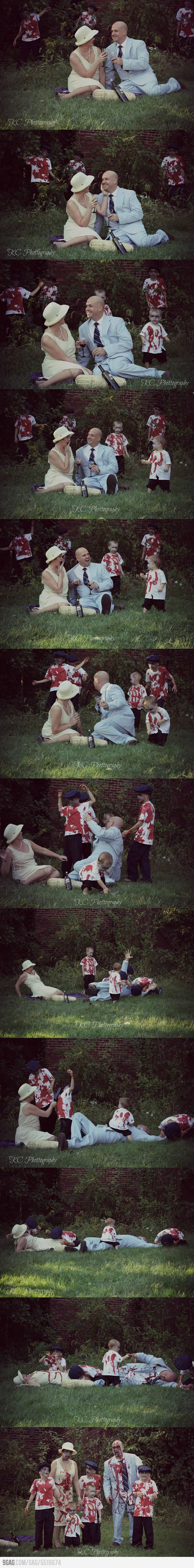 """Zombies are Coming! An awesome family halloween photo shoot!  And then it would become our Christmas card.  We put the """"fun"""" in dysFUNctional."""