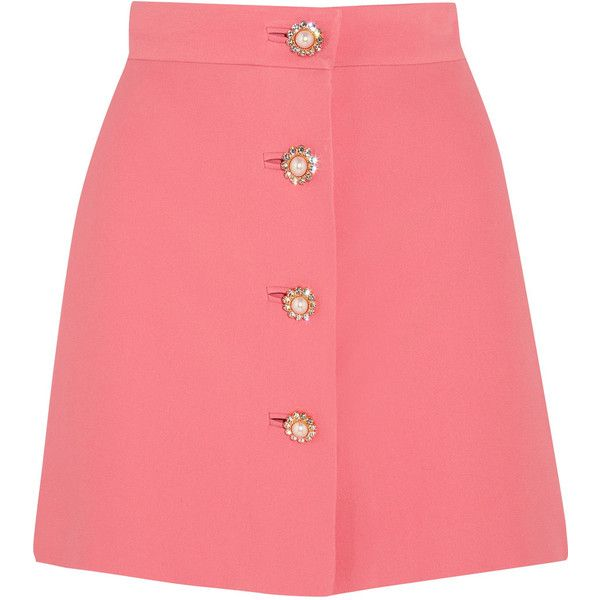 Miu Miu Embellished cady mini skirt (£870) ❤ liked on Polyvore featuring skirts, mini skirts, bottoms, saias, pink, miu miu, red a line skirt, short red skirt, mini skirt and embellished skirts
