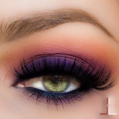 Sunset / Smokey look in vibrant eyeshadow shades of purple, orange and gold from Anastasia of Beverly Hills Artist Pallette