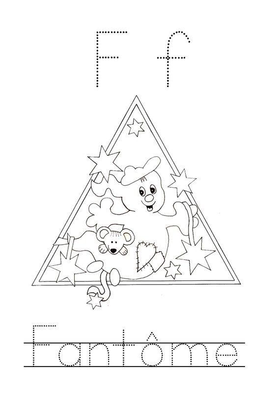 Activités de type graphisme avec la lettre F de l'alphabet comme Fantôme pour enfant de niveau maternelle