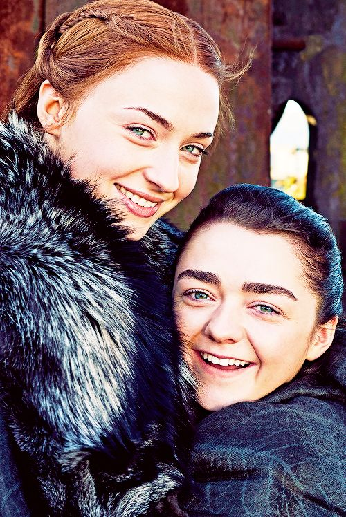 """petyrbaelishs: """"Entertainment Weekly reunites the Stark sisters for their May 2017 issue """""""