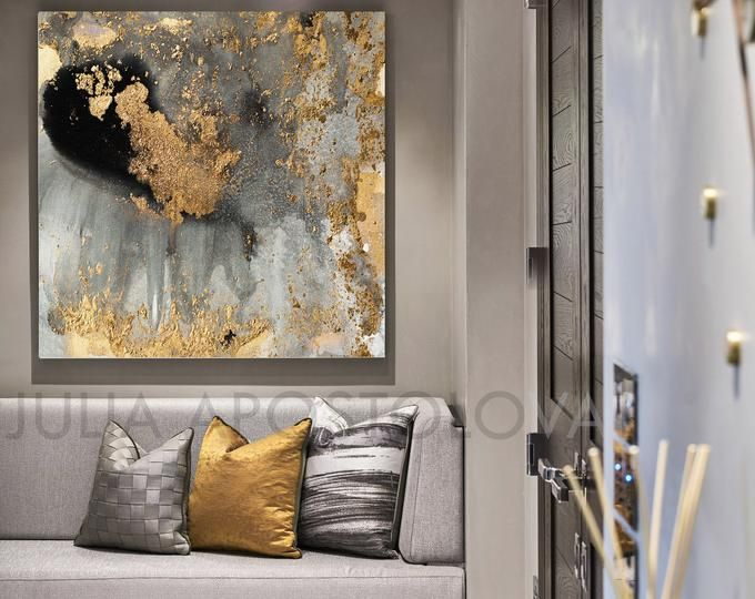 Grey And Gold Wall Art Black Gold Print Contemporary Art Abstract Painting Gold Leafing Wall Art Canvas Watercolors Print Modern Decor Wall Art Gold Leaf Gold Wall Art Huge Wall Art