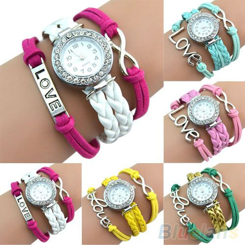 Antique Silver Infinity Love Charm Bracelet Bangle Watch Leather Crystal Watch 1L2M