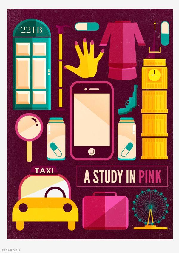 Sherlock: A Study In Pink by Risa Rodil, via Behance