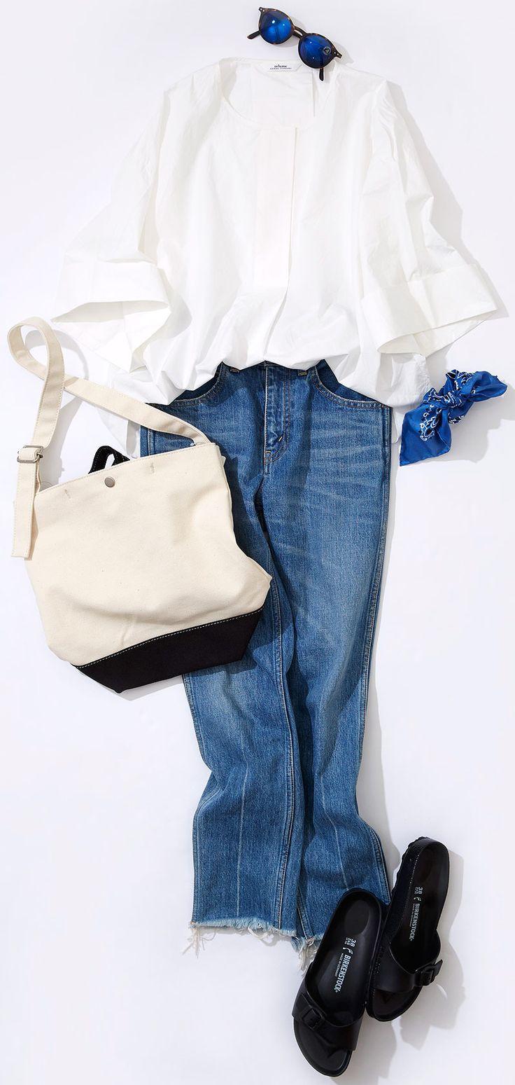 白シャツ&デニムを今どき小物で味付け! ルミネ新宿 ルミネ2のアイテムから、白トップスでつくる軽く爽やかな着こなしをお届け! 人気スタイリスト入江未悠さんが「大人かわいい」をテーマに、上品でまねしやすいスタイリングを提案します!