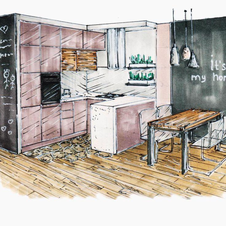 """Большинство моих эскизов собраны по тэгу #homeward_sketching 🚩  А это кухня из проекта #жккняжаягора . В процессе работы произошли некоторые изменения в зоне столовой. """"Меловая стена"""" заменена на геометрию в основных цветах интерьера, поменялись стулья и светильники. И вот уже  4 месяца, как семья из 4 человек переехала в свою новую просторную квартиру ❤️👦🏻👩🏻👶🏻👦🏻🏢❤️ ________________________ #sketchbook  #sketching #sketch #sketch_daily #sketchy #sketchaday #sketchzone…"""