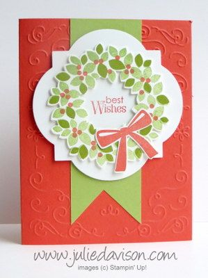 Wondrous Wreath for Spring: Best Wishes Card #stampinup www.juliedavison.com