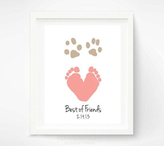 Baby Footprint Dog Paw Art Print Dog Paw by PitterPatterPrint