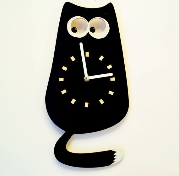 Wood Wall Clock, Black Cat - Wall clock for a children -  Wall Clock Oversized, Cat - Minimalist wall clock - Acrylic wall clock (scheduled via http://www.tailwindapp.com?utm_source=pinterest&utm_medium=twpin&utm_content=post140017123&utm_campaign=scheduler_attribution)