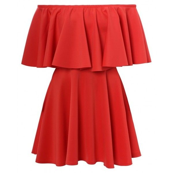 Chloe Sims Celebrity Inspired Coral Off Shoulder Frill Bodycon Skater... ❤ liked on Polyvore featuring dresses, vestidos, short dresses, short party dresses, mini dress, red bodycon dress, red party dresses and bodycon mini dress