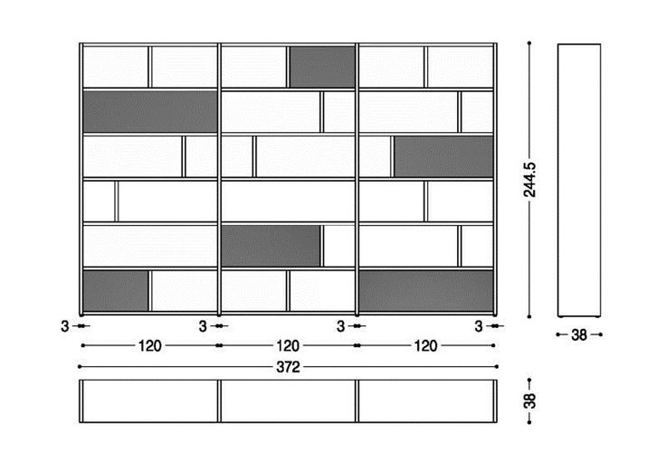 Bibliothèque double-face avec tiroirs PASSWORD by Riva 1920
