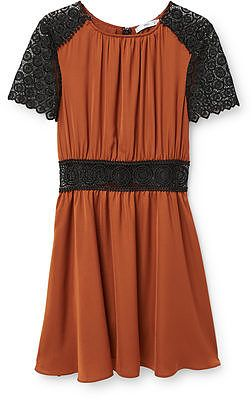 Womens windsor tan blond-lace panel dress from Mango - £59.99 at ClothingByColour.com