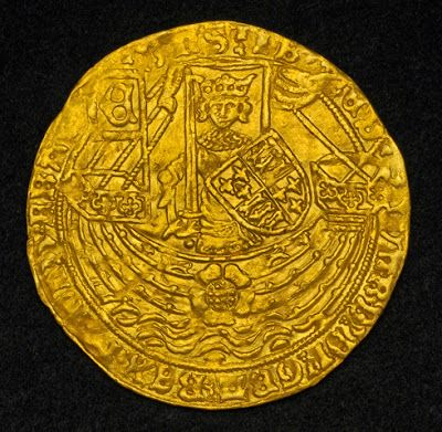 Rose Noble of Edward IV  - Gold Ryal or a Flemish Noble - imitation of an English Gold Rose Noble of Edward IV of England (1464-1470) coin of 1591 Netherlands,  Gorinchem City Mint of Mint of Culemborg  Obverse: Crowned and armored King (Edward IV) on ship holding sword and shield of arms, banner with initial (E) to his left. Comment: Large rose adorning the ship´s hull, flanked by lions and lis symbols. Waves below.