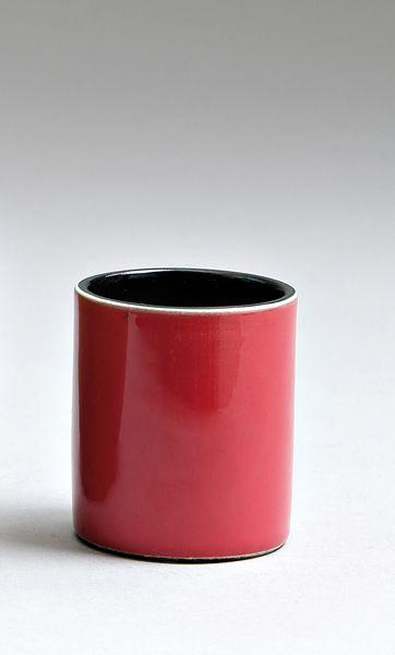 Georges jouve pot crayons cylindrique en fa ence mail for Pot rouge exterieur