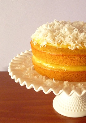 Cantaloupe Cake w/ Orange Curd Filling & Coconut Topping